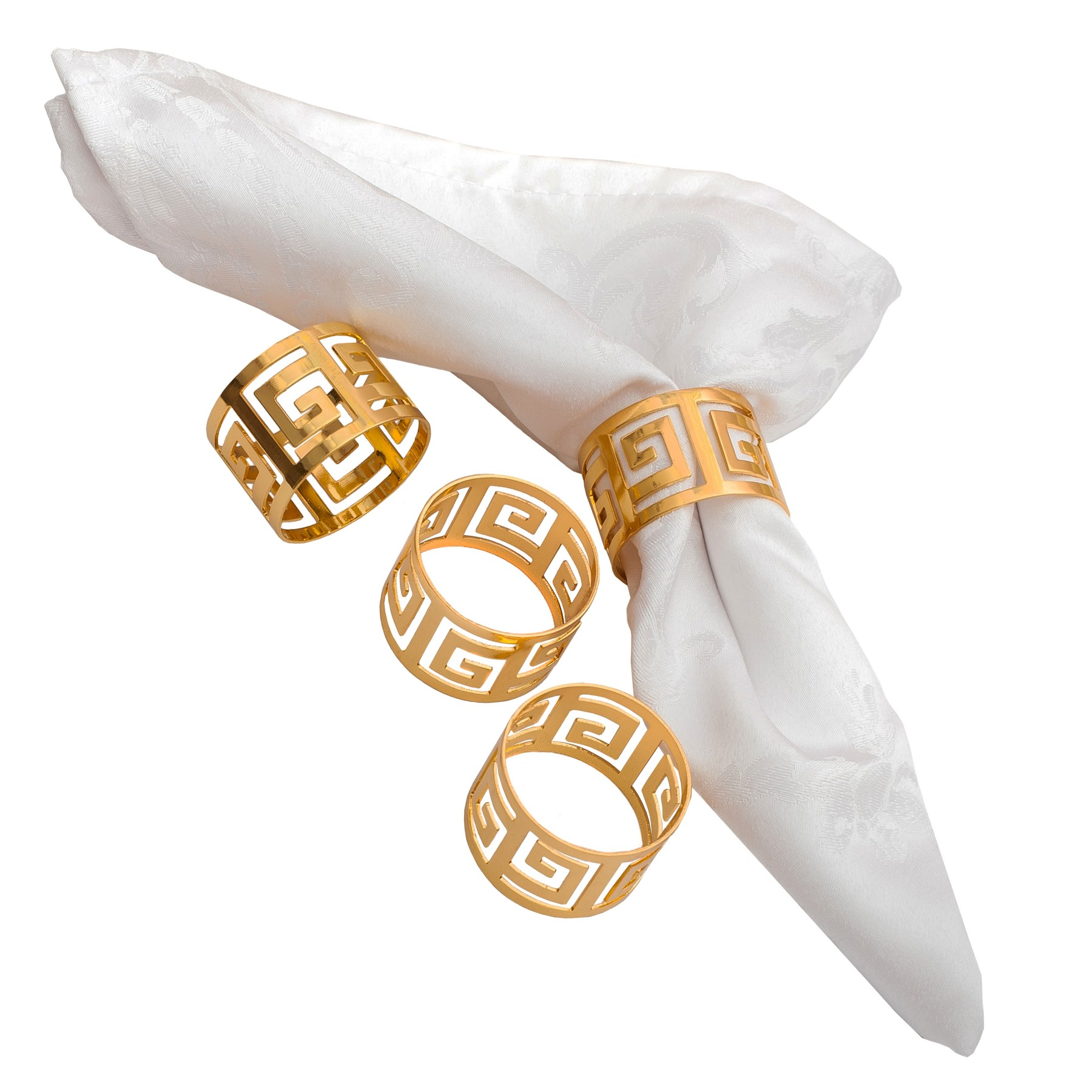 Nicole Fantini Collection Silver Meandros Pattern Napkin Rings Set of 4